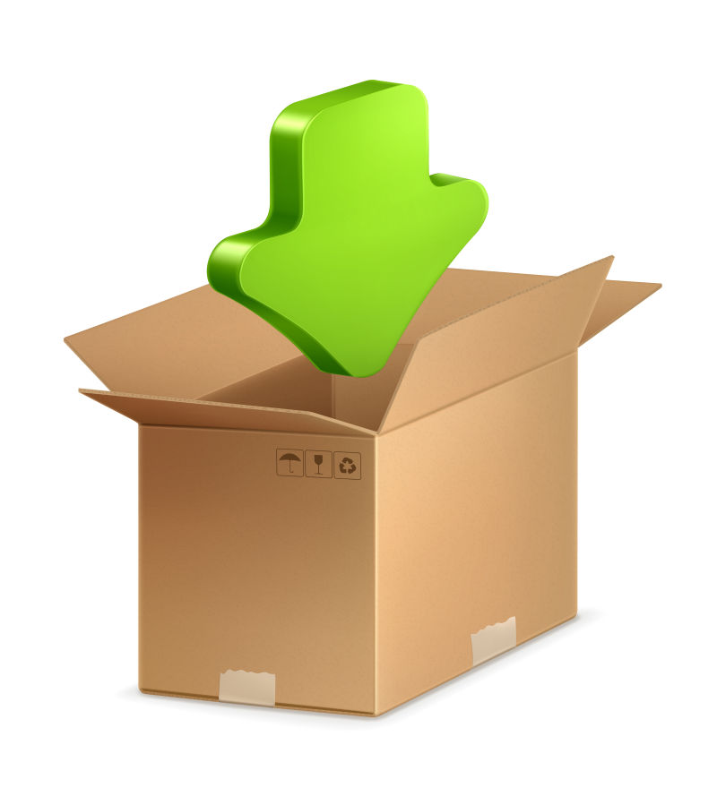 绿色箭头和纸箱矢量插图