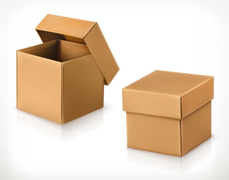 矢量棕色纸盒