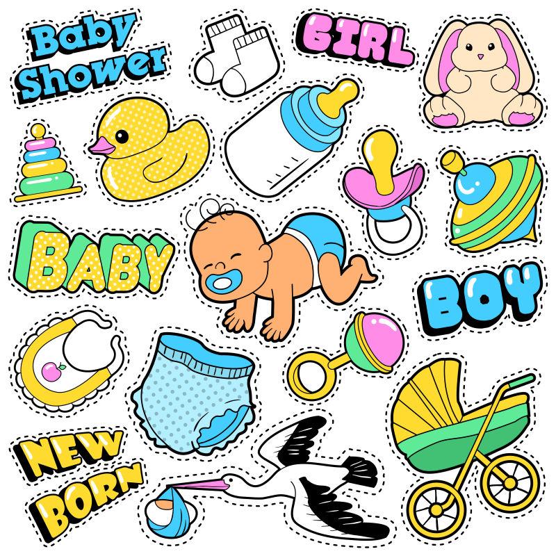 矢量新出生的婴儿和玩具贴纸