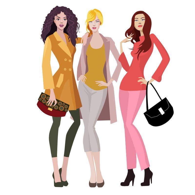 矢量时尚的购物女孩插图