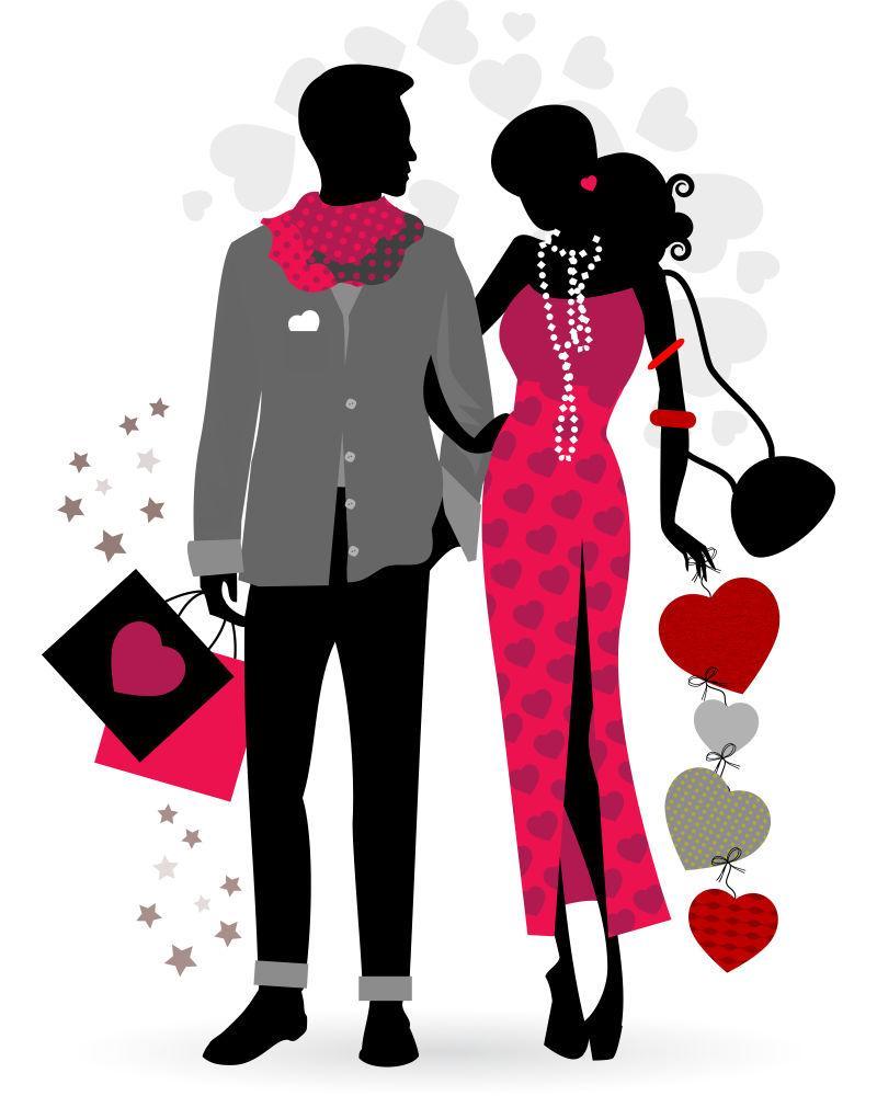 流行服饰购物的时尚男女剪影