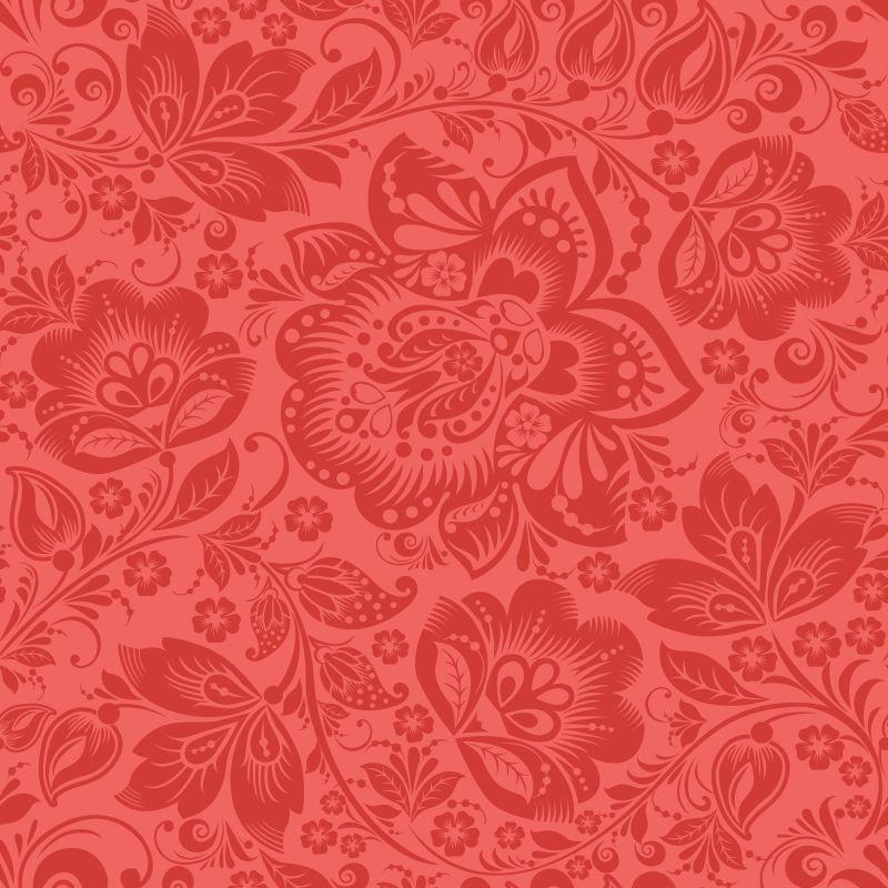 矢量红色花卉装饰设计艺术背景