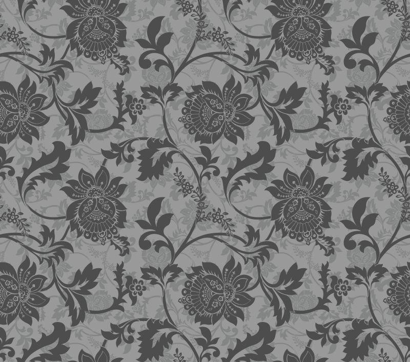 矢量灰色古典花卉无缝背景