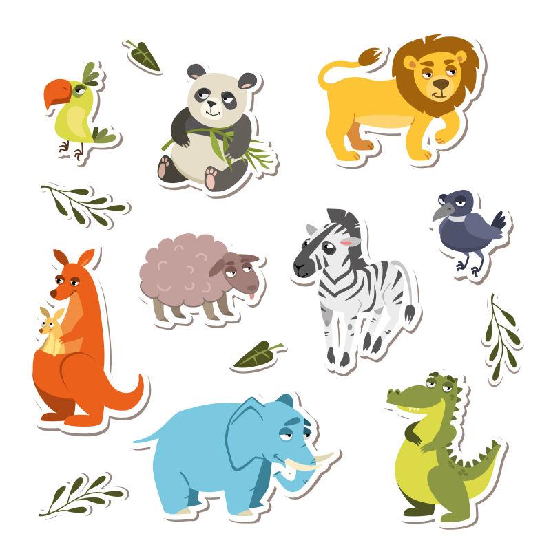 一群可爱的矢量动物贴纸