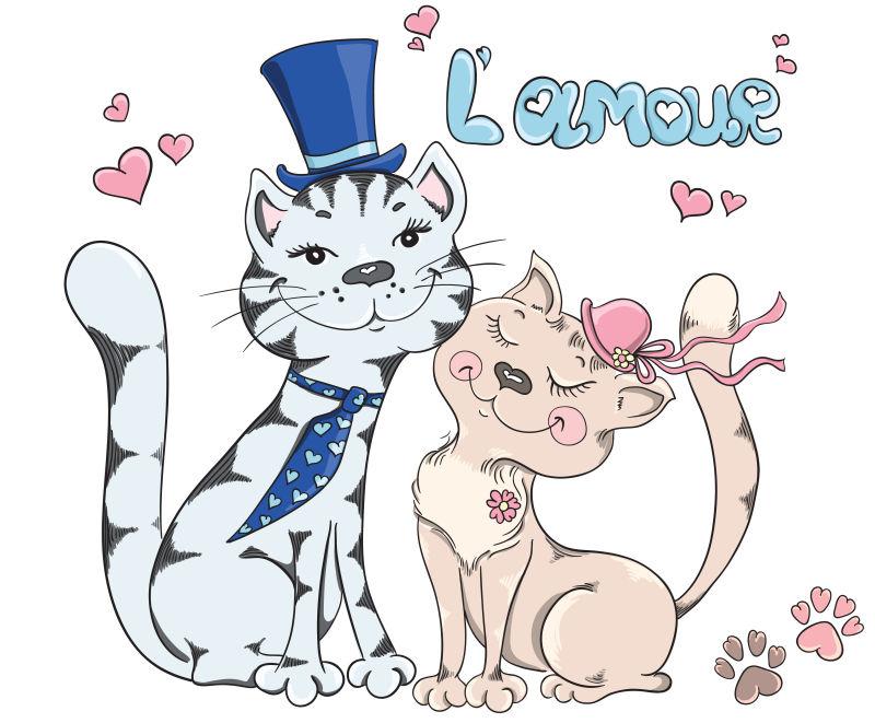 矢量的情人节小猫插图