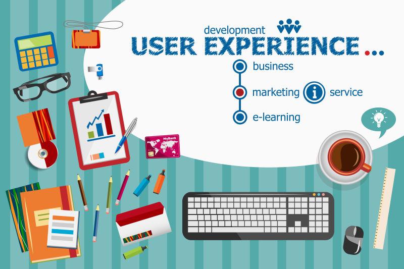 企业用户体验与平面设计插图概念矢量