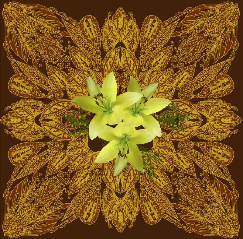 矢量的黄色鲜花装饰