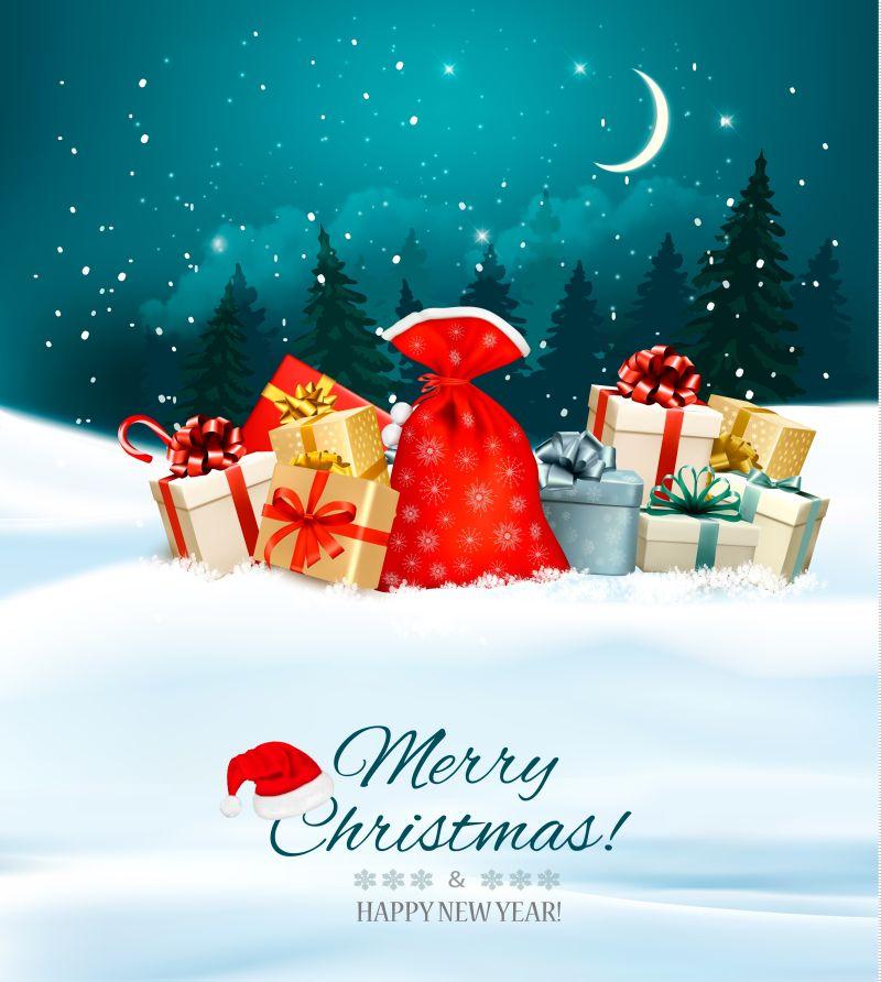 假日圣诞背景装满礼盒的袋子矢量插图