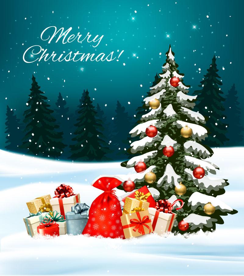 矢量装满礼物盒和圣诞树的袋子