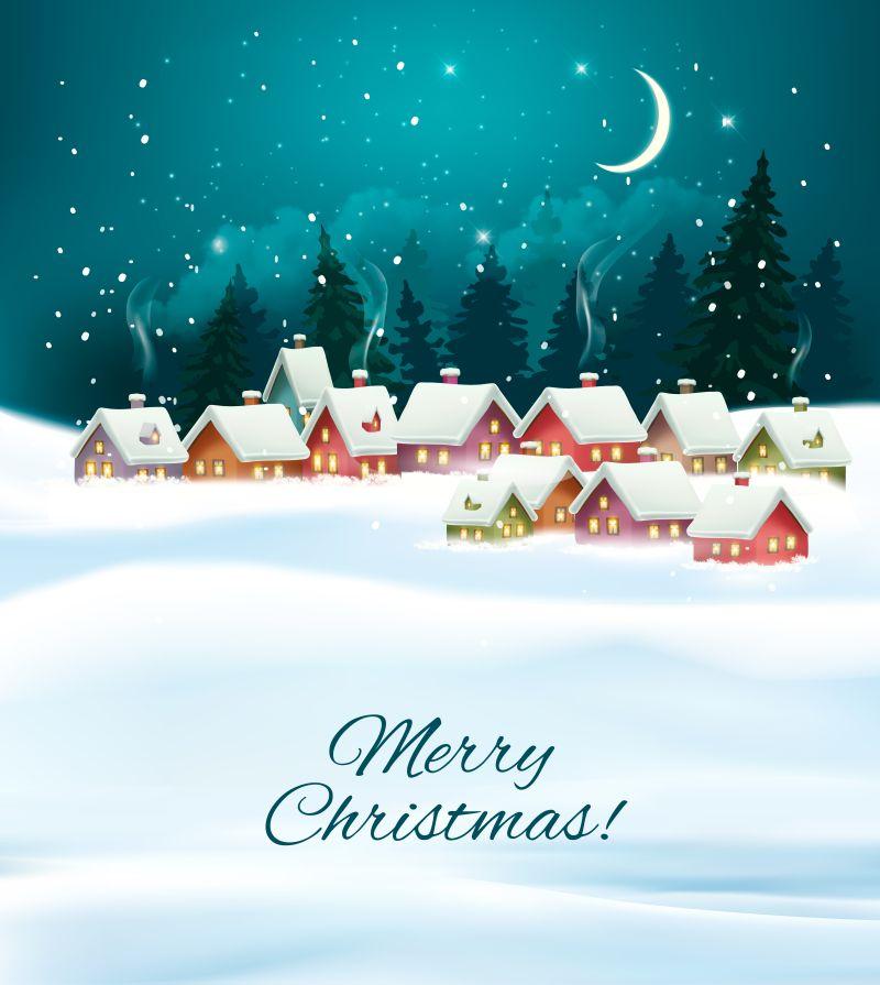 冬季村庄夜圣诞背景矢量插图
