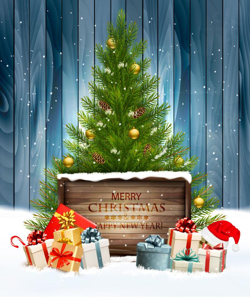 圣诞树和礼物圣诞老人帽子矢量插图