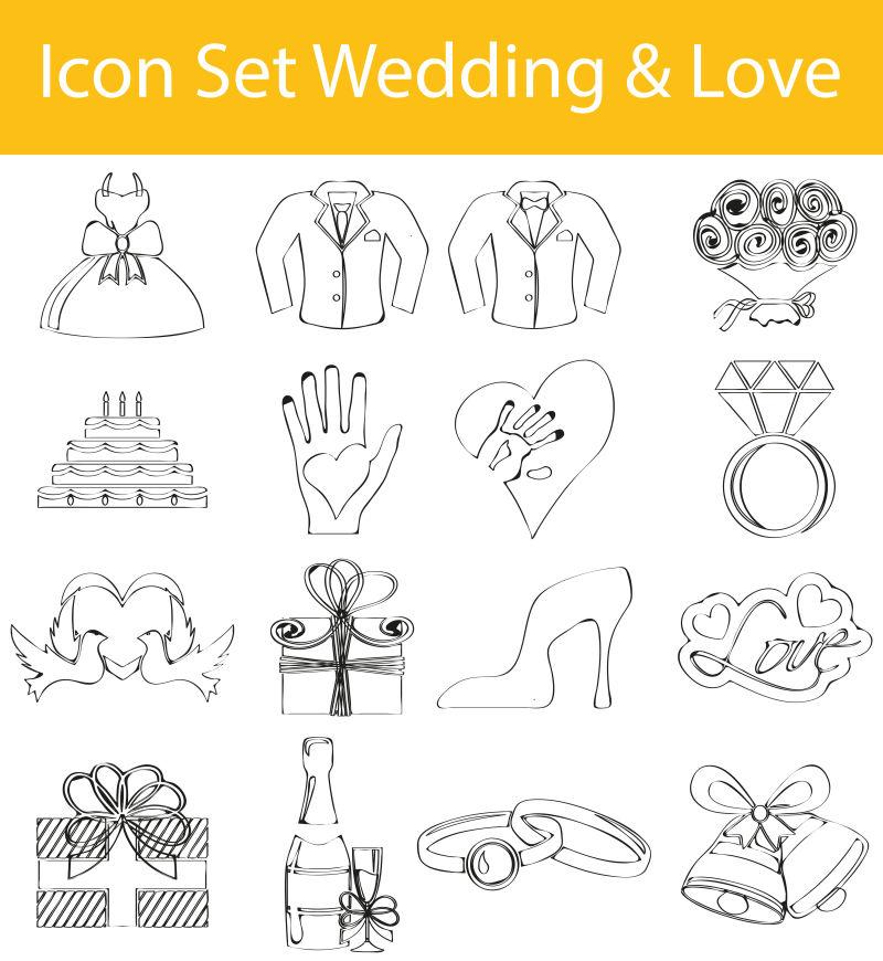 抽象矢量婚礼相关线形图标设计