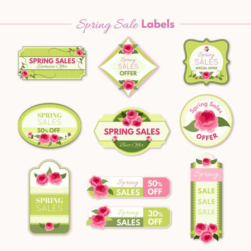 春季销售贴纸矢量设计