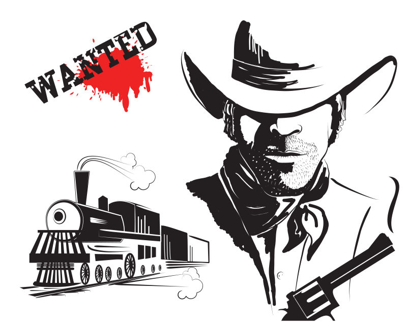 矢量的创意火车和强盗插图