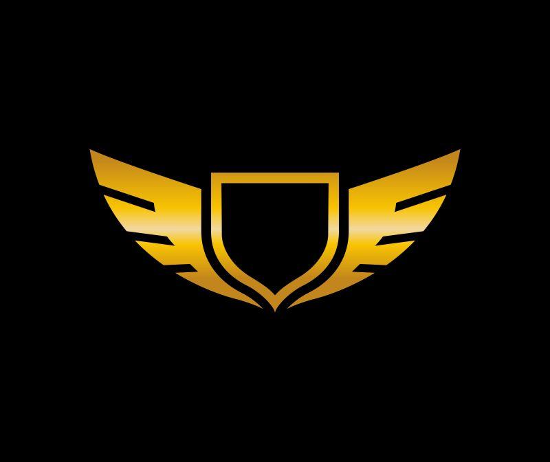 矢量金色翅膀和盾牌标志设计