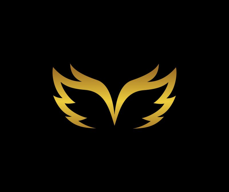 矢量黑色和金色翅膀标志设计