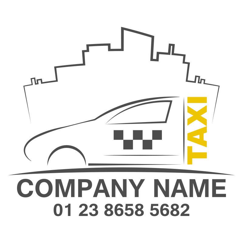 矢量黄色出租车标志设计