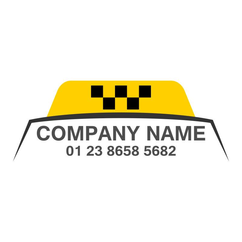 矢量黑色和黄色的出租车标志设计