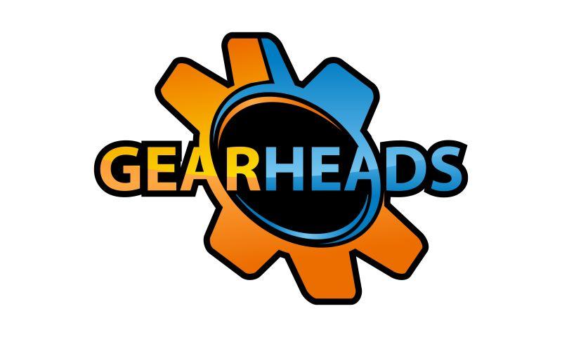 矢量橙色和深蓝色齿轮创意logo设计