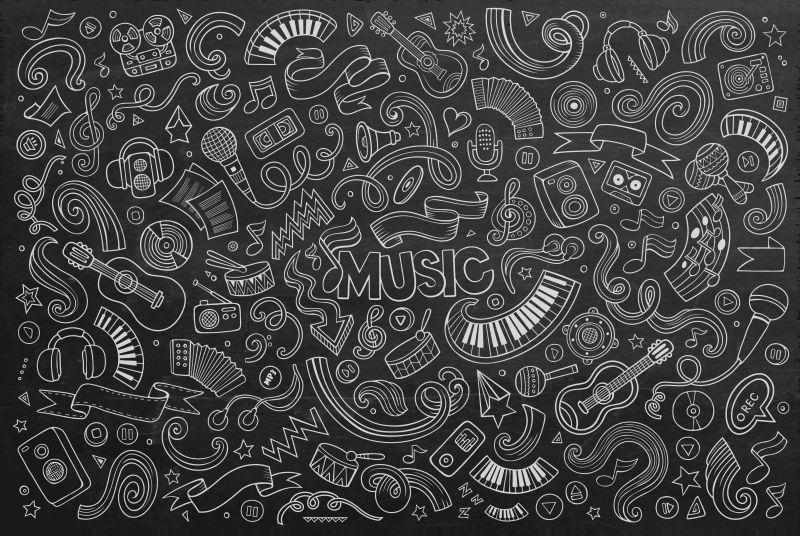 黑板粉笔音乐涂鸦矢量图