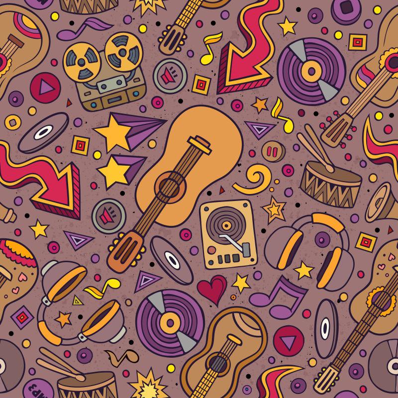 乐器涂鸦手绘矢量插图