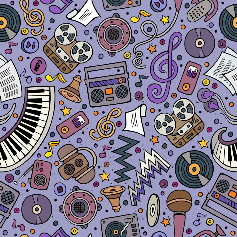 音乐乐器涂鸦矢量图