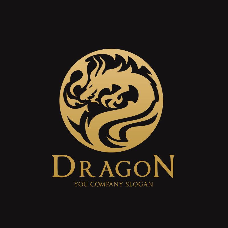 金色龙纹矢量logo