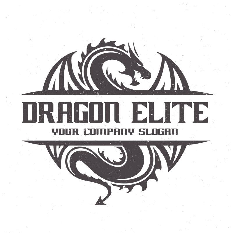 矢量黑色龙形logo