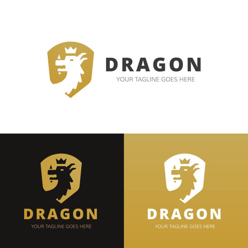 矢量金色的龙形logo