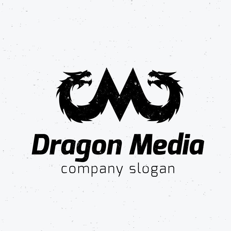 矢量黑色的龙形logo