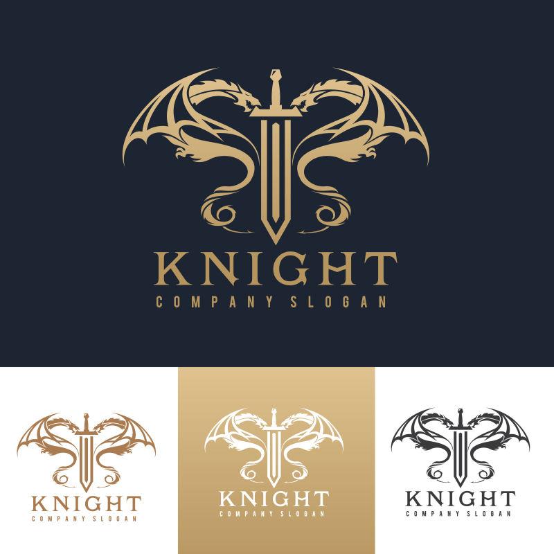 矢量金色双龙龙形logo