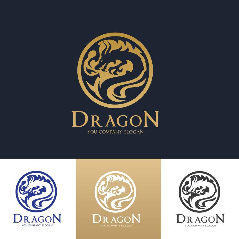 矢量金色龙形logo