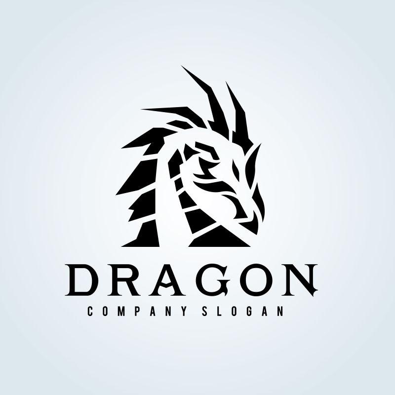 矢量黑色纹身龙形logo