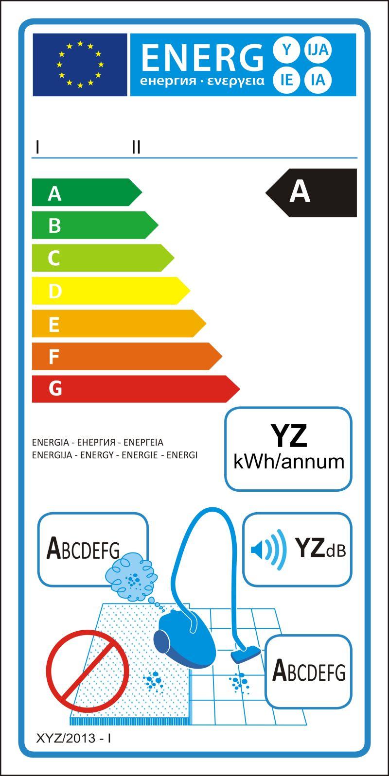 硬质地板真空吸尘器新能源等级矢量图标签