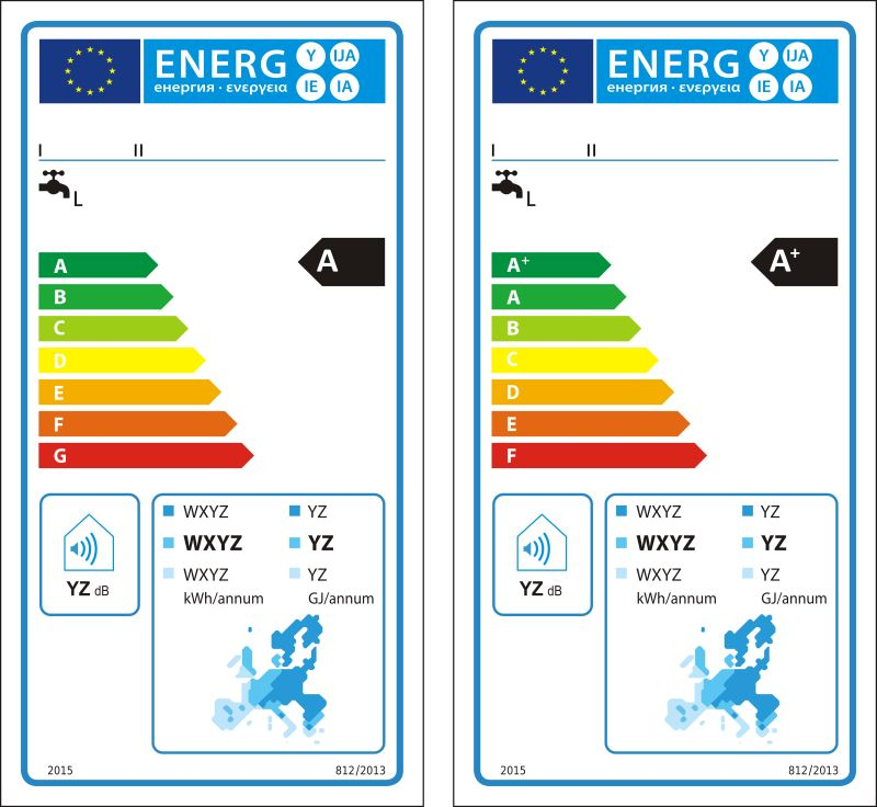 太阳能热水器新能源等级图矢量标注
