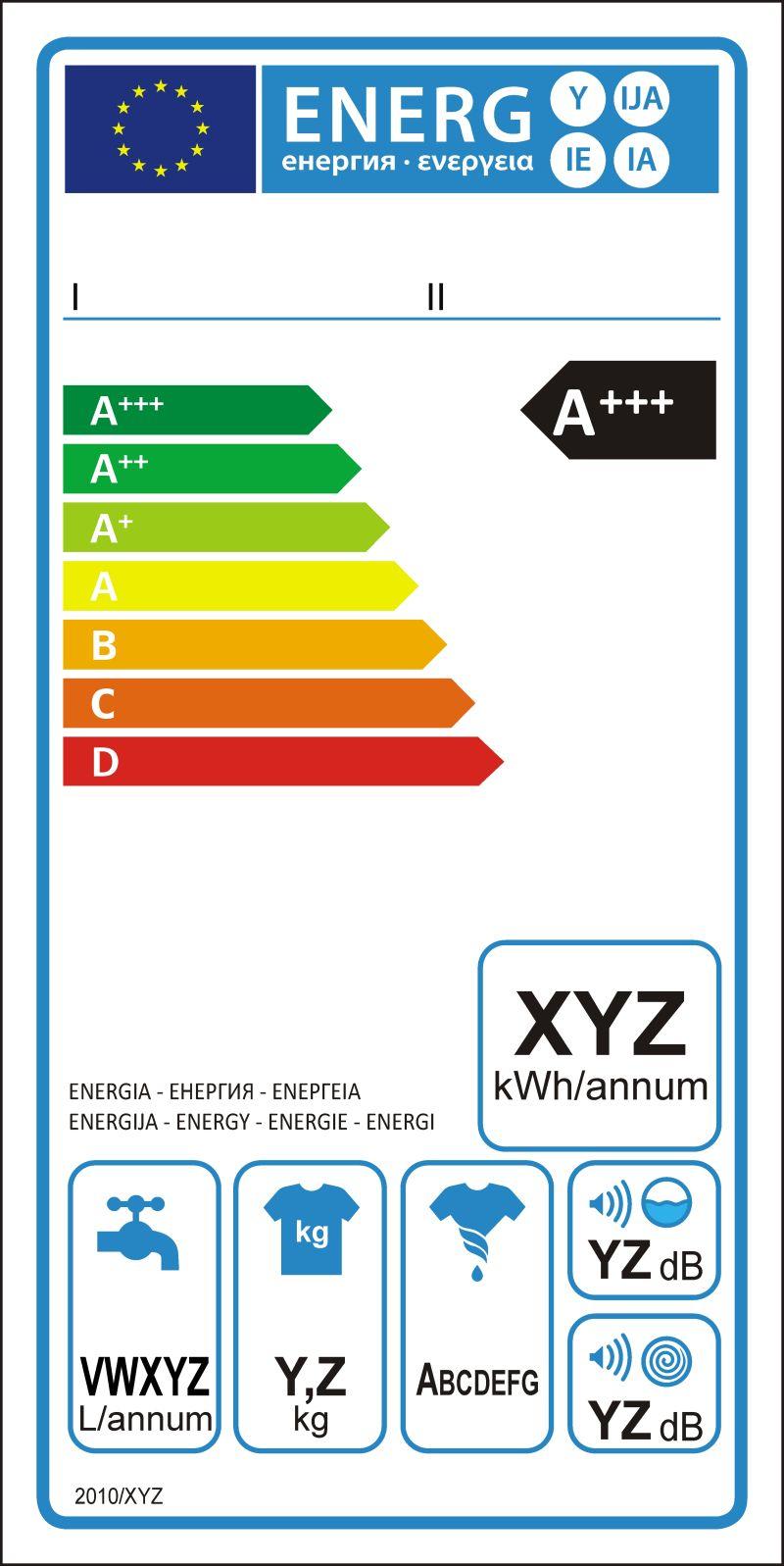 洗衣机新能源评级图形标签矢量