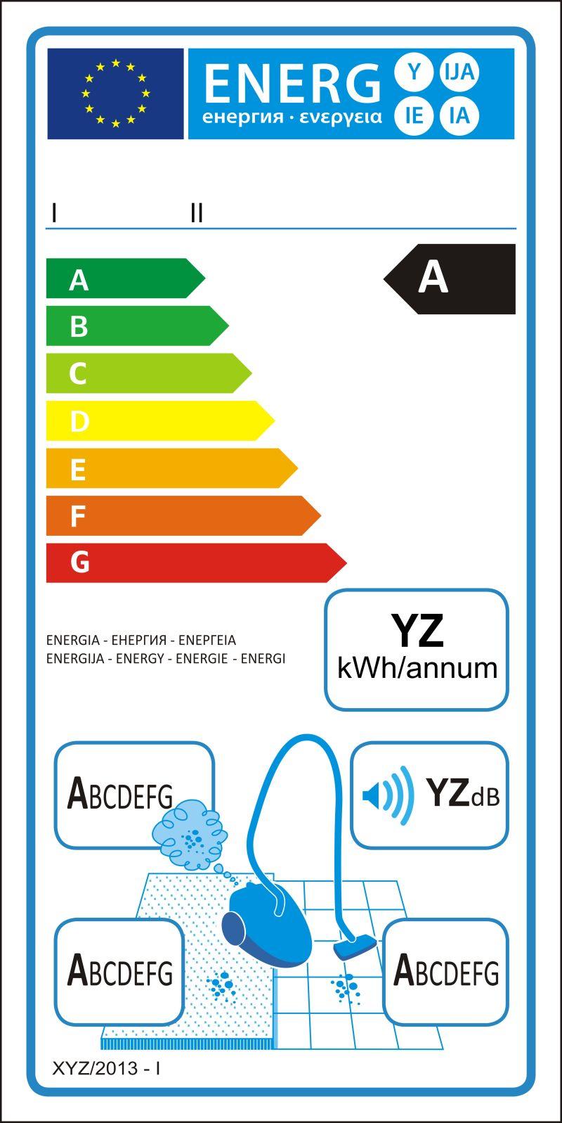 真空吸尘器新能源等级矢量图标签