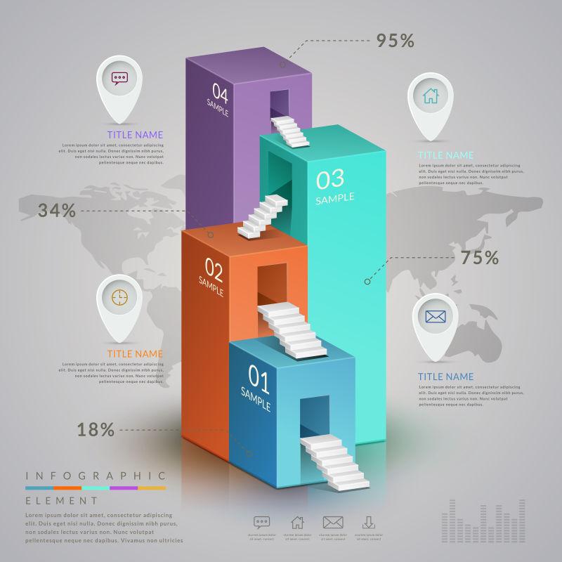 三维等距信息图表设计矢量