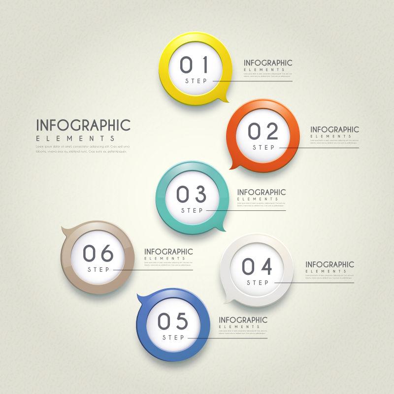 彩色圆形信息图表矢量设计