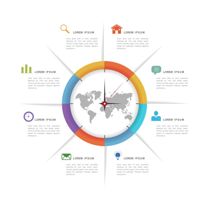 创意矢量彩色全球商业信息图表设计