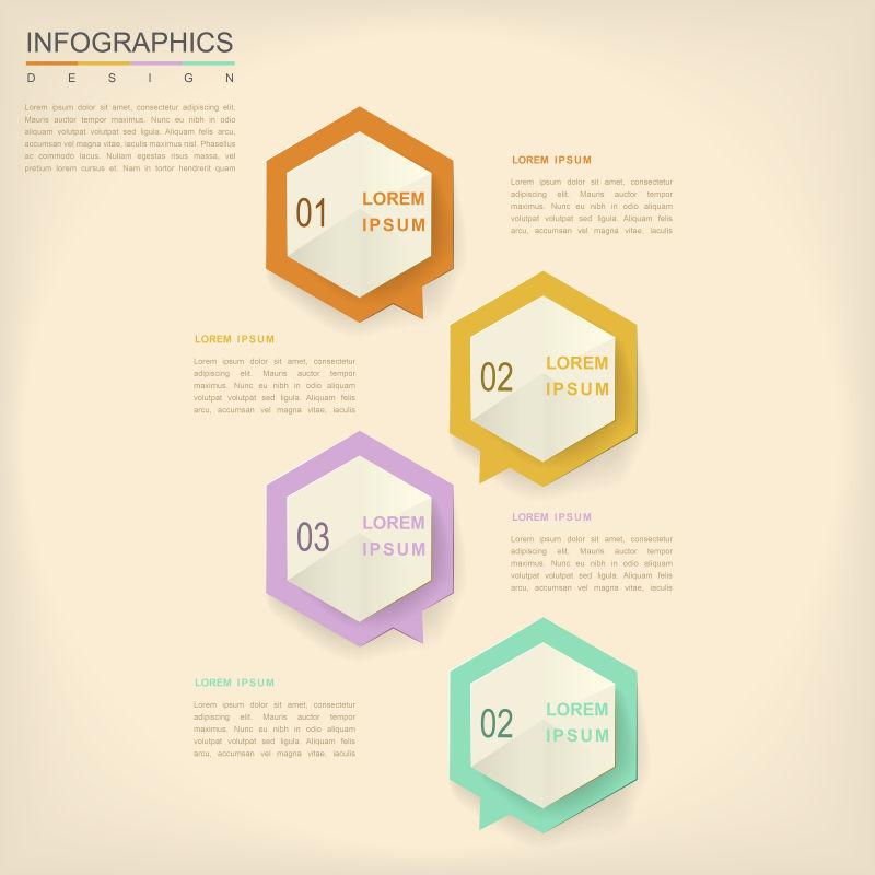 矢量卡通六边形元素的信息图表设计