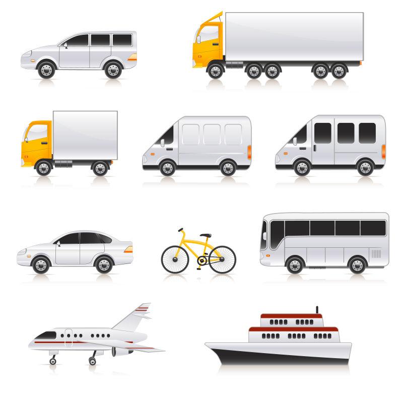 创意矢量卡通交通运输工具