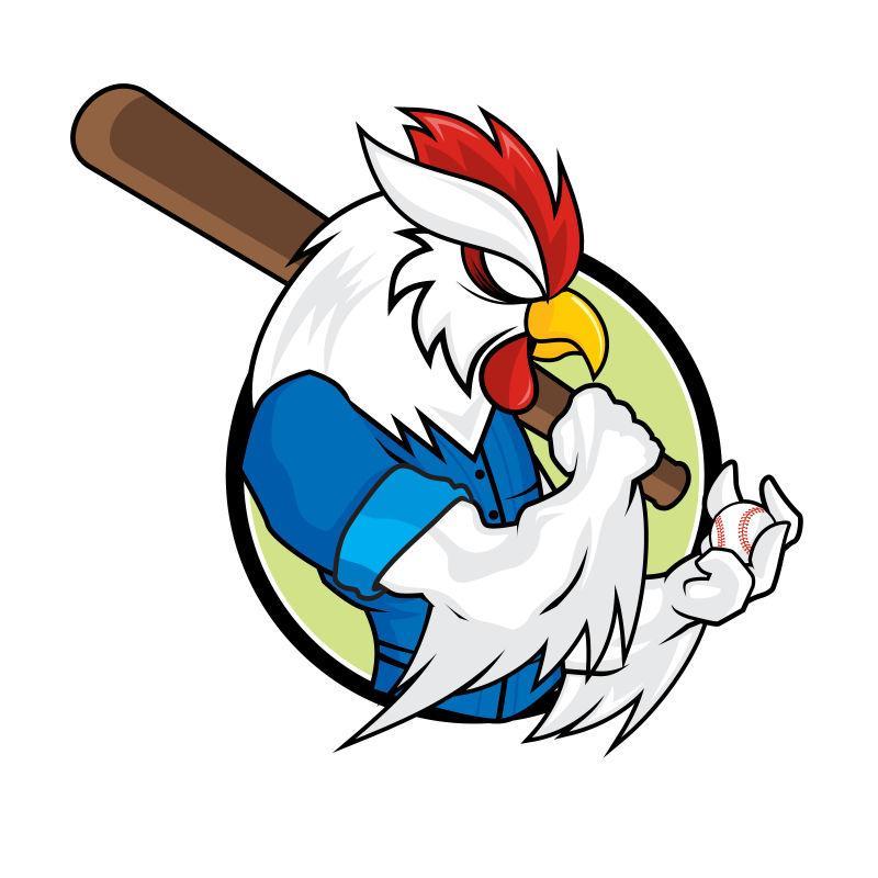 矢量卡通棒球的鸡吉祥物