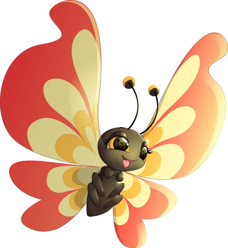 红色和黄色翅膀的矢量卡通蝴蝶