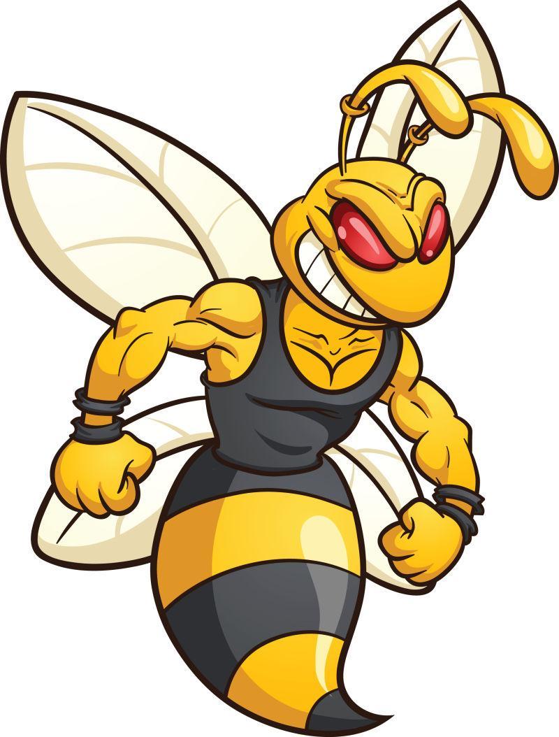 矢量卡通邪恶的黄蜂