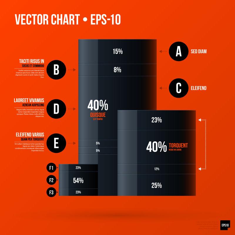橙色的商业数据图表矢量图