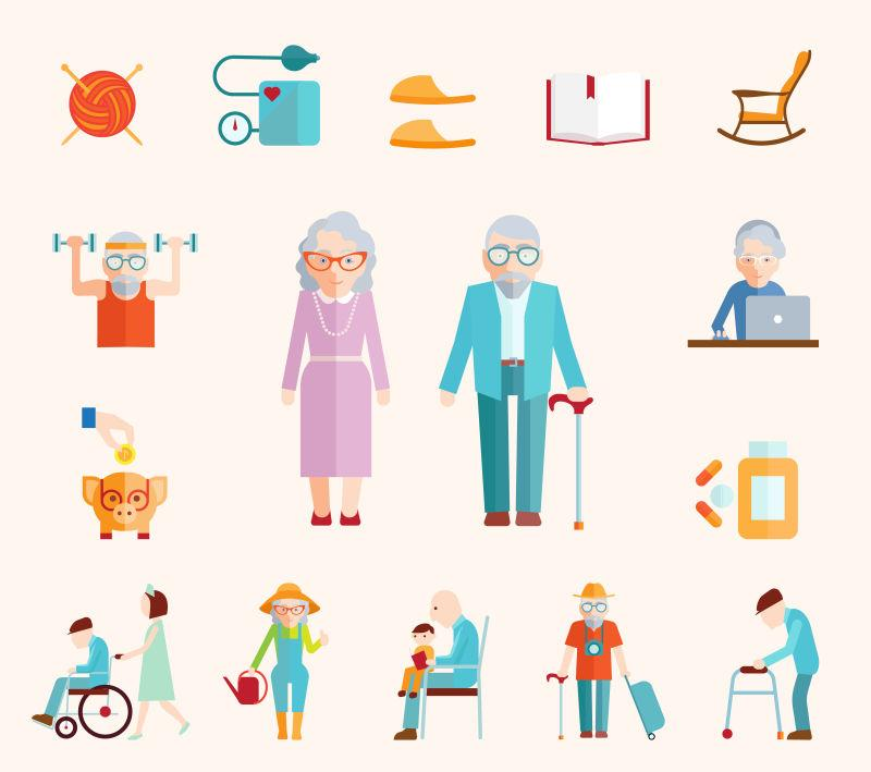 老年家庭夫妇矢量插图