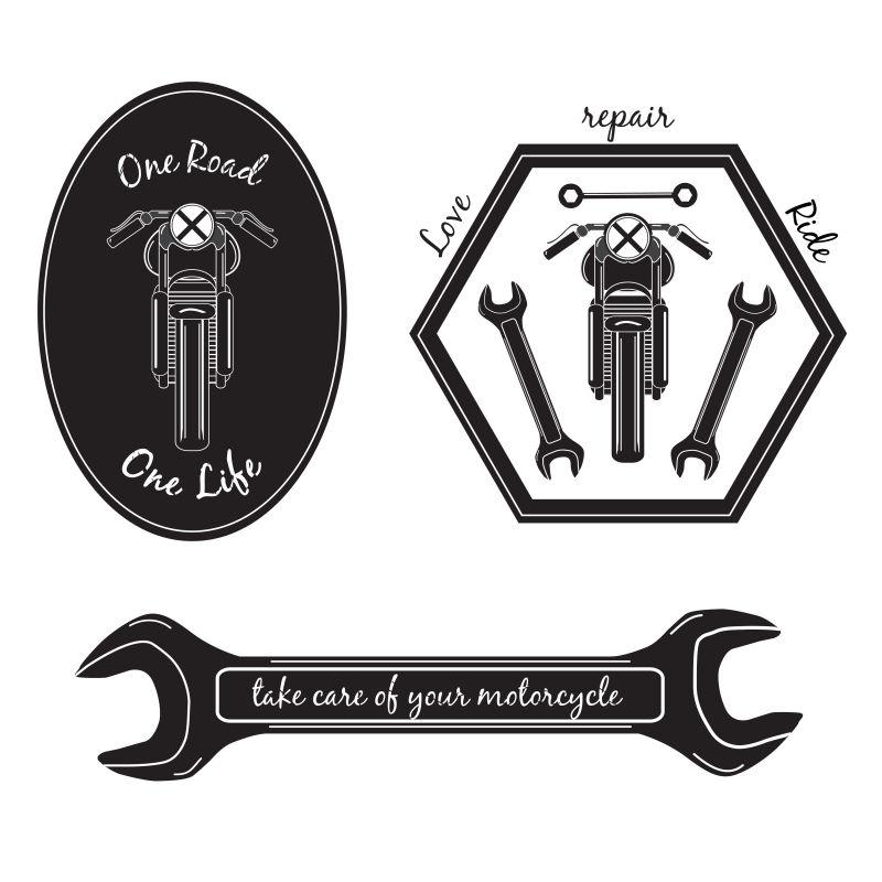 矢量摩托车修理标签设计