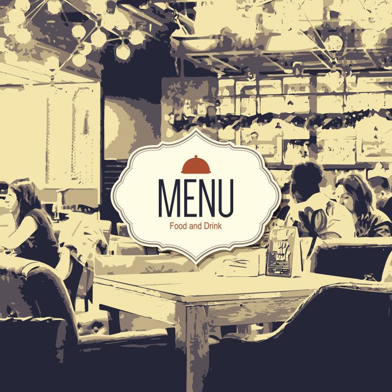 复古风格的创意元素的现代餐厅封面设计矢量