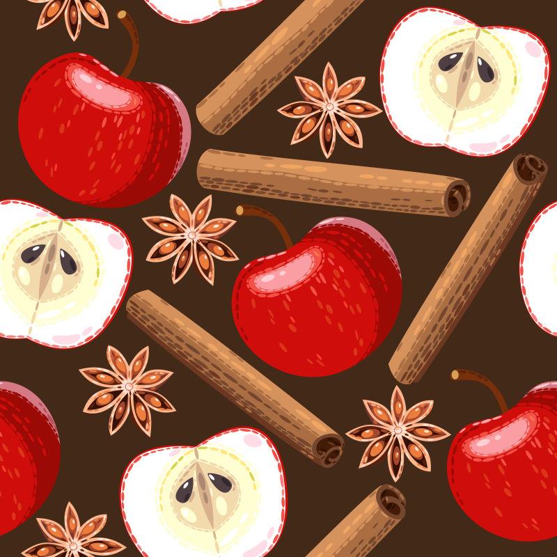 矢量红苹果和八角肉桂等香料